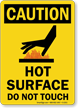 Caution: Hot Surface Do Not Touch Sign