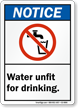 Water Unfit for Drinking ANSI Notice Sign