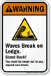 Waves Break on Ledge Warning Sign