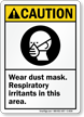 Caution Wear Dust Mask Respiratory Irritants Sign