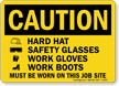 Wear Hardhat Safety Glasses, Gloves, Boots Sign
