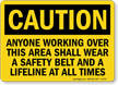 Caution: Wear Safety Belt and Lifeline Sign