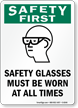 Wear Safety Glasses Sign