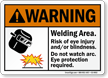 Welding Area Risk Of Eye Injury/Blindness Sign