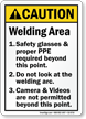 Welding Area Safety Glasses Proper PPE Required Sign
