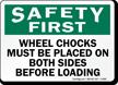 Safety Wheel Chocks Loading Sign