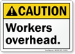 Workers Overhead ANSI Caution Sign