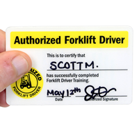 Double-Sided Authorized Forklift Driver Certification Wallet Card, 2-Sided
