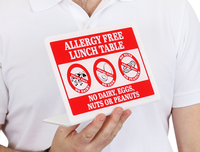Allergy Free Lunch Table No Dairy Eggs Nuts Peanuts Desk Sign