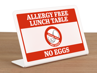 Allergy Free Lunch Table No Eggs Desk Sign