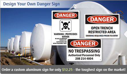 Five custom signs for just $44. Toughest Aluminum Signs in the market.