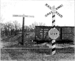 Crossbuck railroad crossing sign, circa 1926
