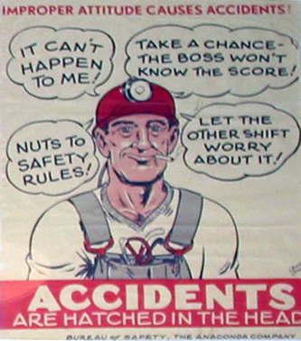 Accidents happen in the head sign