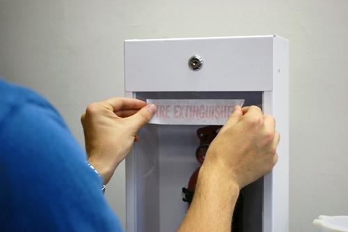 Glass or cabinet door die cut fire extinguisher sign