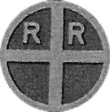 A railroad crossing sign for a single-track crossing, circa 1927