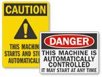 Automatic Start Hazard Signs