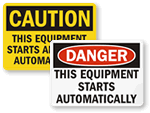 Automatic Start Hazard Labels