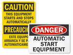 Automatic Start Hazard Signs & Labels