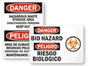 Bilingual Biohazard Signs & Labels