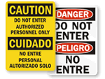 Bilingual Do Not Enter Signs