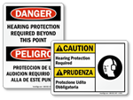 Bilingual Hearing Protection Signs