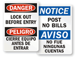 Bilingual  Post No Bills Signs