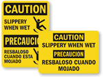 Bilingual Slip & Trip Labels