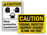 Caution PPE Signs & Labels