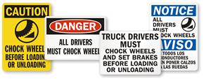 Chock Wheels Signs