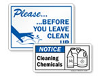 Cleaning Supplies and Keep Clean Signs