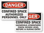 Confined Space Warning Signs