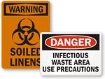 Biohazard Contaminated Clothing Signs