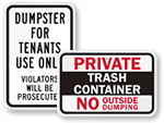 Private Property No Dumping Signs