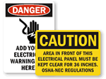 Electrical Equipment Warning Signs