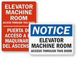 Elevator Machine Room Signs