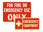 Emergency Equipment Stored Signs