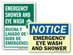 Eye Wash Shower Combination Signs