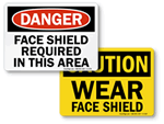 Face Shield Required In This Area Signs