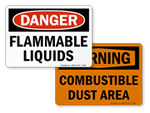 Flammable Liquid and Combustible Dust Signs