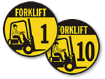 Forklift ID Labels & Matching Floor Signs