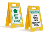 First Aid Fold Up Floor Signs