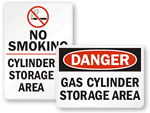 Gas Cylinder Storate Signs
