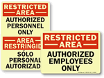 Glow Restricted Area Signs