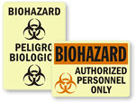 Photoluminescent Biohazard Signs