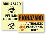 Photoluminescent Biohazard Signs