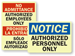 GlowSmart Authorized Personnel Only Signs