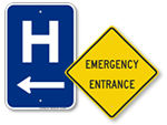 Hospital & Ambulance Entrance Signs