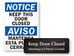Bilngual Keep Door Closed Signs