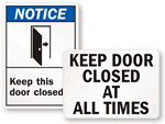Keep Door Closed Signs