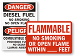 Flammable Material No Smoking Signs
